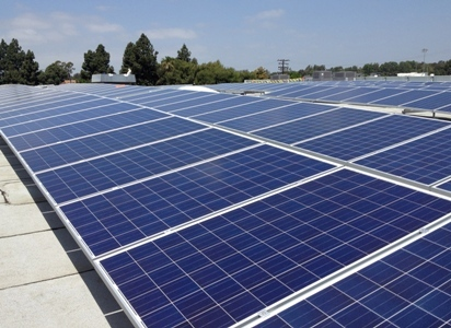 Commercial solar applications using the surface ballast system from Landfill Solar.
